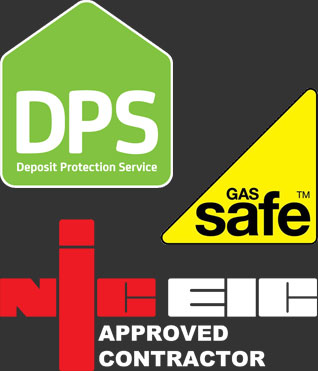 The Deposit Protection Service,NICEIC and Gas Safe logos